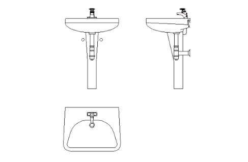 lavabo para autocad en sus tres vistas alzado y planta