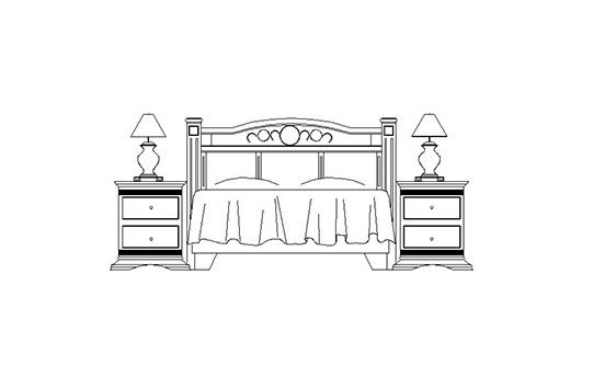 mesa en alzado con dos mesas de noches